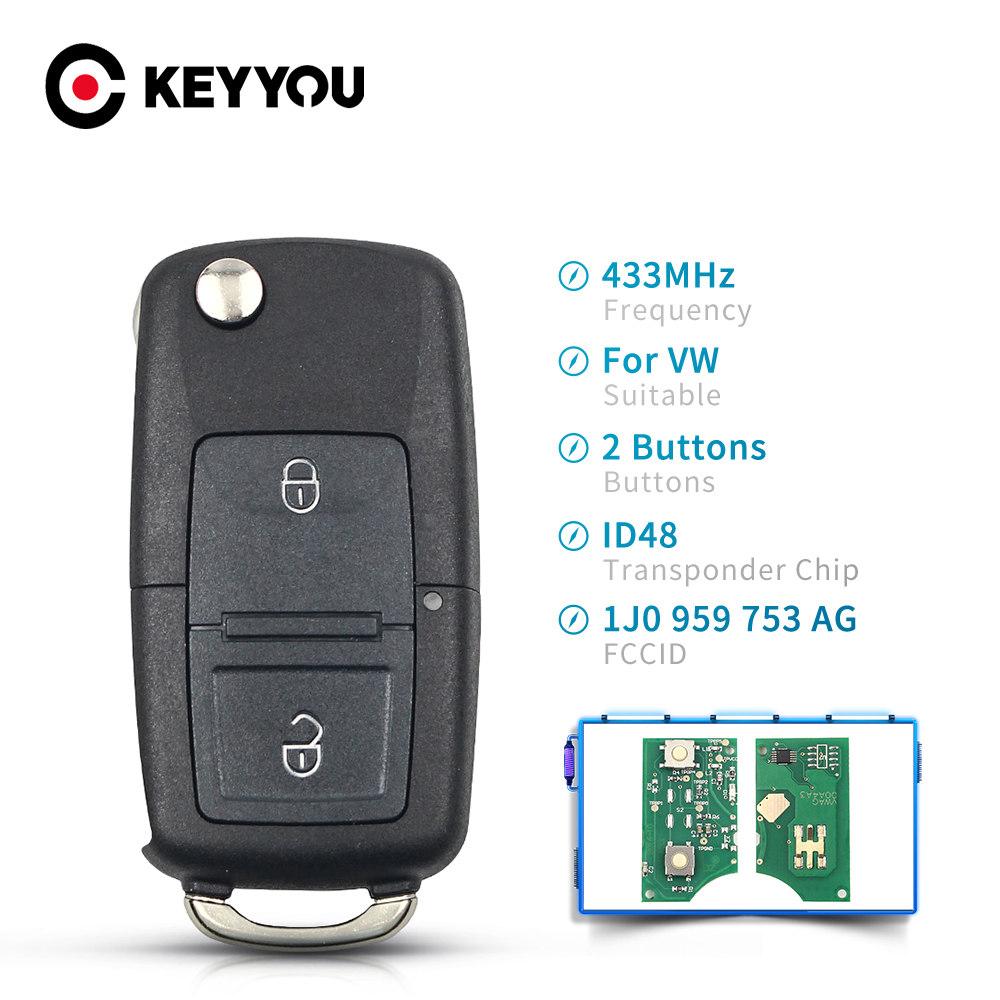Брелок KEYYOU для дистанционного ключа с 2 кнопками для VW Beetle Bora Golf Passat транспортер поло T5 1J0959753AG чип ID48 434 МГц