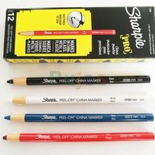 USA sanford Sharpie Black white yellow blue ceramics Peel-Off china marker Strippable crayon pen line marker design pen 12pc/lot