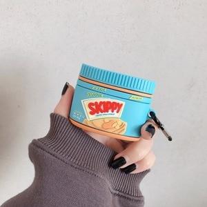 Image 4 - Para airpods pro coque bonito 3d manteiga de amendoim garrafa silicone caso fone de ouvido para apple airpods 1 2 suporte fone de ouvido capa com gancho