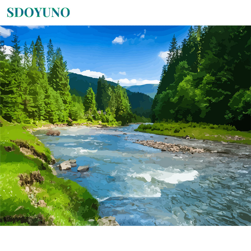 SDOYUNO Oil Painting By Numbers Diy Frameless 60X75cm River Landscape Home Decor Pictures By Numbers Canvas Painting