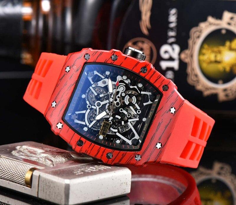 Top Brand Steel Chronograph Mens Horloges Automatic  Horloge Blauw Siliconen Militaire Sport Horloge Relogi