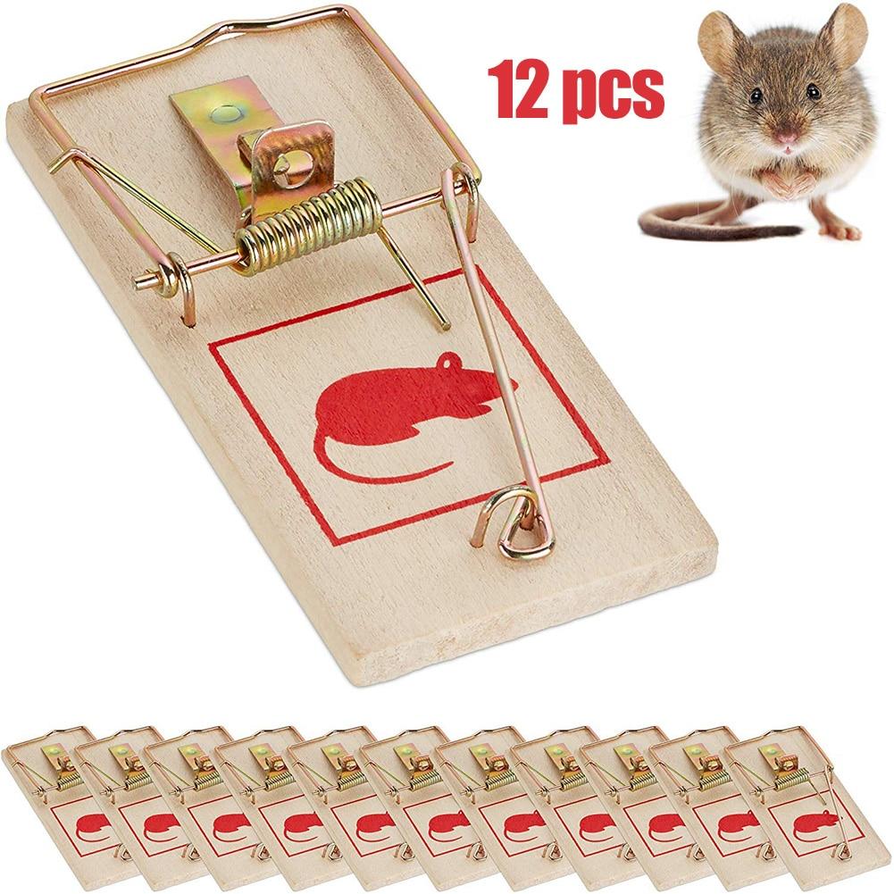 12Pcs Reusable Wooden Mice Mouse Traps Bait Mice Home Garden Supplies Mouse Killer Pest Control Mousetraps