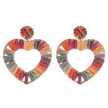 Fashion Alloy Heart Shaped Love Raffia Hoop Metal Earrings Jewelry For Womens
