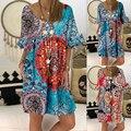 Women's Summer Sunflower Print Sundress Casual Loose Beach Boho Dress Retro Short Sleeve Tshirt Oversize Pullover Dresses S-5XL