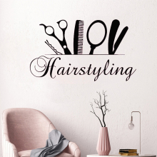 Tools Scissor Style Wall Sticker Hairstyling Hairdresser Beauty Salon Poster Mural Shop Decals Decor W590