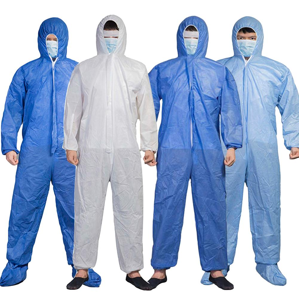Full Body Zip Closure Protection Coverall Hooded Isolation Hazmat Suit Protective Disposable Factory Hospital Safety Clothing