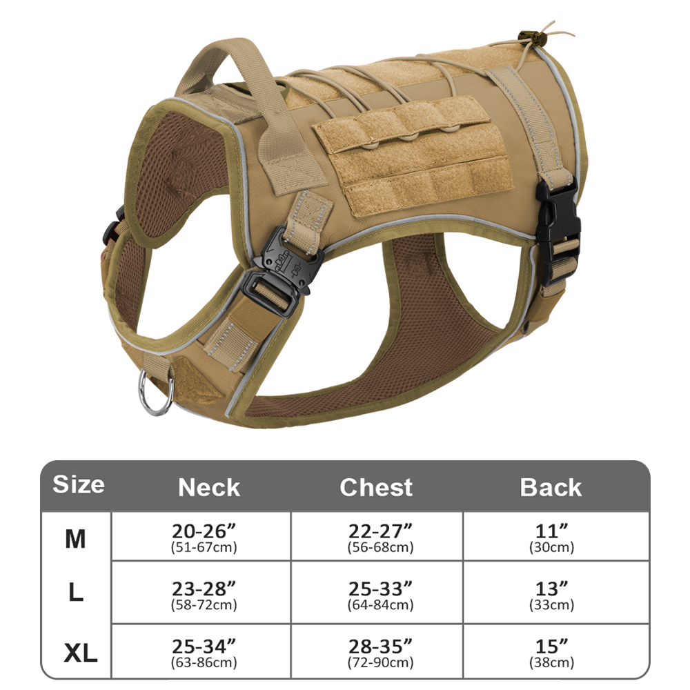 Tactical Dog Harness No Pull Adjustable Military Pet Training Harness Molle Vest With Handle For Medium Large Dogs Outdoor Hike