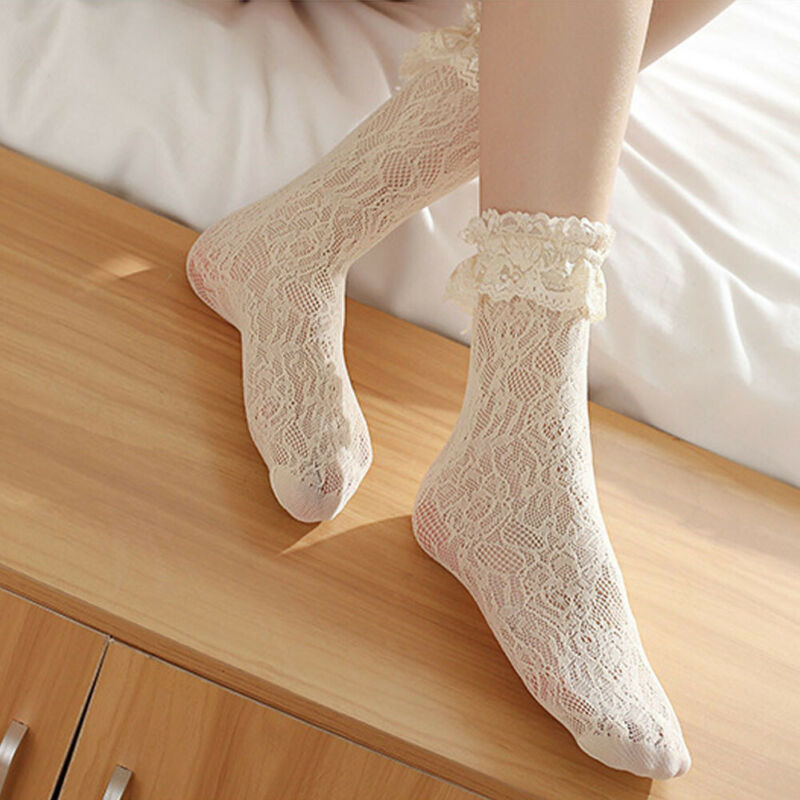 1pair Sweet Retro Girls Socks Lolita Ruffle Cotton Lace Princess Sock Meias Sox