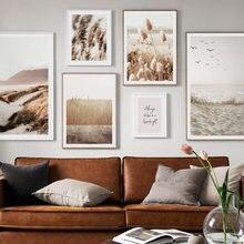 Affiche de plage et de montagnes de sable, peinture sur toile avec ligne abstraite, affiches nordiques, images murales pour décoration de salon