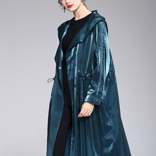 Sexy Trench Coats 2019 Autumn Winter New Hooded Loose Large Size Long Sleeved Wi