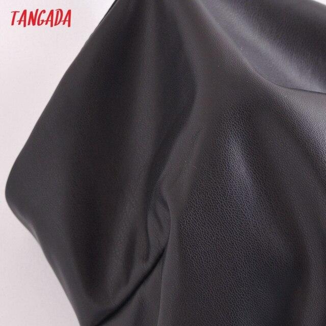 Tangada Women Black Faux Leather Short Dress Sleeveless Backless 2021 Fashion Party Dresses QN205 4