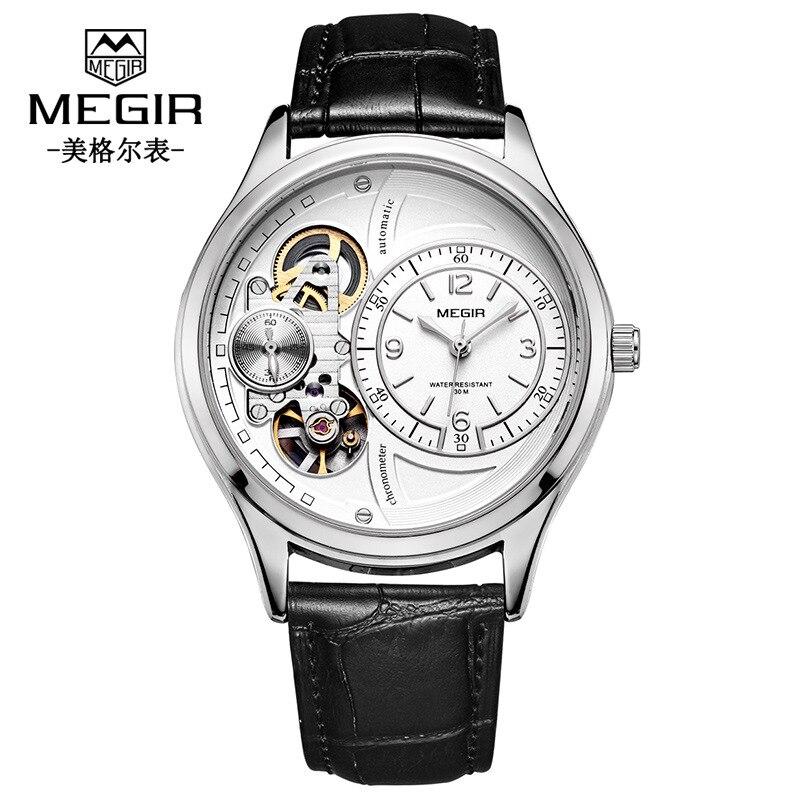 Unique marque de créateur hommes montres Quartz mode haute qualité luxe Megir homme montre évider Sport montre livraison directe - 3