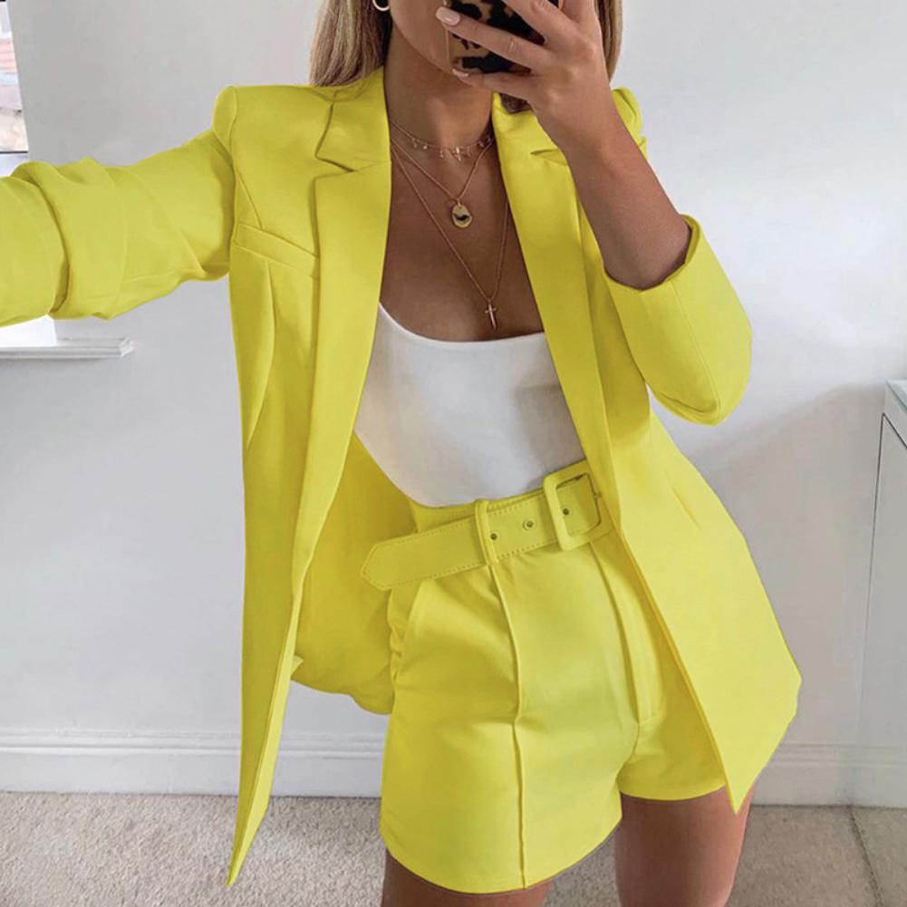 Sexy Women Solid Color Lapel Long Sleeve Blazer Jacket Shorts Suit Coat Outwear