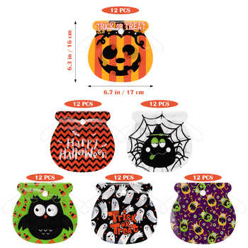 72pcs Halloween Drawstring Bag Children Kids Goody Bags Organza Gift Bags With Handles Candy Bags Trick Or Treat Bag Supplies