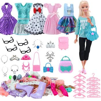 Lalka Barbie ubrania akcesoria dla Barbie buty dla lalek buty Mini sukienka torebki korona wieszaki okulary dla zabawka lalka Barbie DIY tanie i dobre opinie MATERNITY W wieku 0-6m 7-12m 13-24m 25-36m 4-6y 7-12y 12 + y CN (pochodzenie) free shipping Unisex Moda For Barbies Doll Clothes Girls DIY Toy