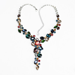 Luxury Colorful Rhinestone Necklace Bridal Jewelry Special-Shaped Crystal, Retro Personality, Prom Wedding Accessories CORUIXI