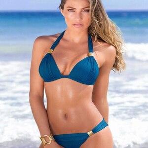 Marka Sexy Bikini kobiety strój kąpielowy Push Up duże Bikini Set kostiumy kąpielowe Halter lato plaża nosić biquini Plus rozmiar stroje kąpielowe XXL