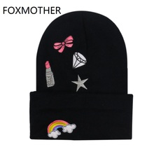 FOXMOTHER New Winter Fashion Black Grey Rainbow diamond Star Lipstick Embroidery Beanie Hats For Women Girls Caps Bonnet femme