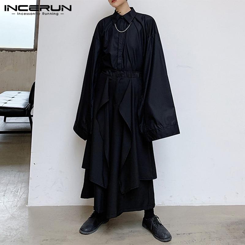 INCERUN Men Casual Loose Streetwear Men Wide Leg Pants Solid Color Elastic Waist Irregular Skirt Trousers Punk Black Joggers 5XL