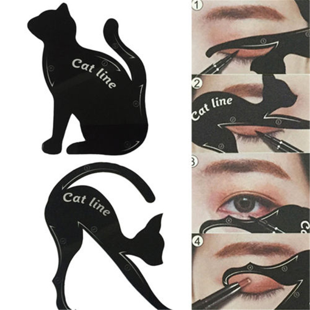Fashion Sexy Multifunction Cat Line Eye Makeup Tool Eyeliner Stencils Template Shaper Model Beginners Efficient Tools