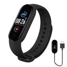 Bracelet connecté M5 pour hommes et femmes, montre intelligente, moniteur de fréquence cardiaque, de pression artérielle et de sommeil, podomètre, connexion Bluetooth, pour IOS et Android