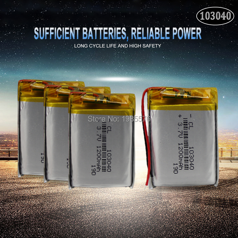 3.7V 1200mAh 103040 Lithium Polymer LiPo Rechargeable Battery For MP4 GPS PSP VR DVR DVD mobile video game Tablet Power bank image