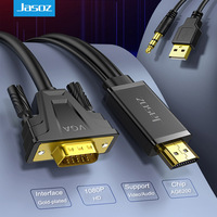 Jasoz – câble de conversion HDMI vers VGA mâle vers mâle, adaptateur Audio-vidéo, full HD 3.5 P, 1080mm, pour tv box, projecteur de PC