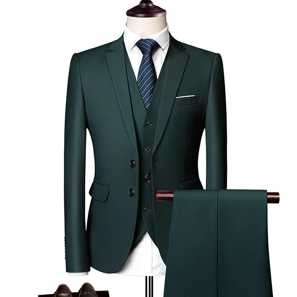 Wonderful Groom Male Wedding Prom Suit Green Slim Fit Tuxedo Men Formal Business Work Wear Suits 3Pcs Set (Jacket+Pants+Vest)