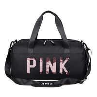 Bolsa de gimnasio negra con lentejuelas 2019 para mujer, bolsas de deporte impermeables con compartimento para zapatos, para entrenamiento de Fitness y Yoga