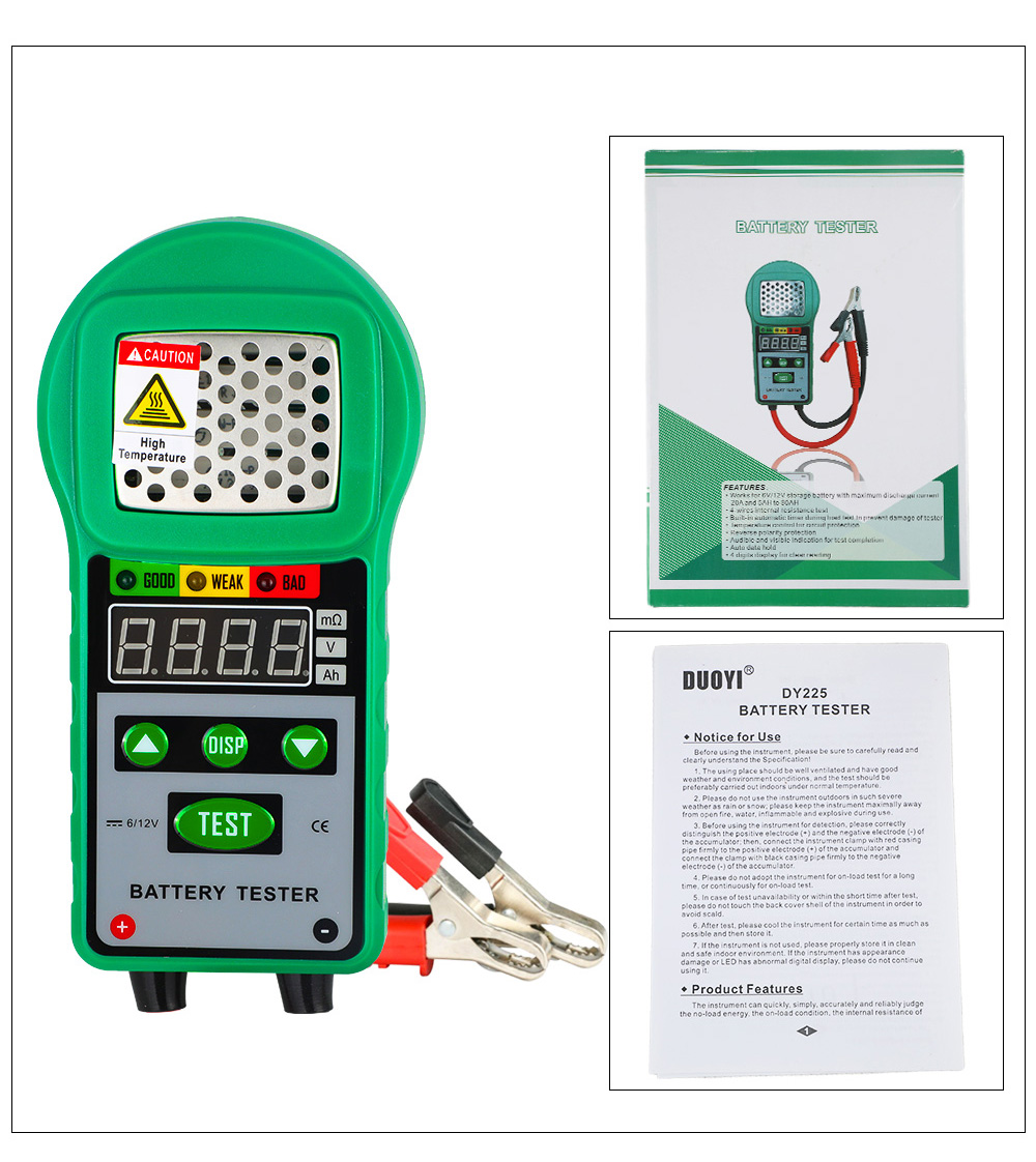 DUOYI DY225 Car Battery Tester Analyzer Automotive Resistance Test Auto for Electric Battery Energy Storage Marine