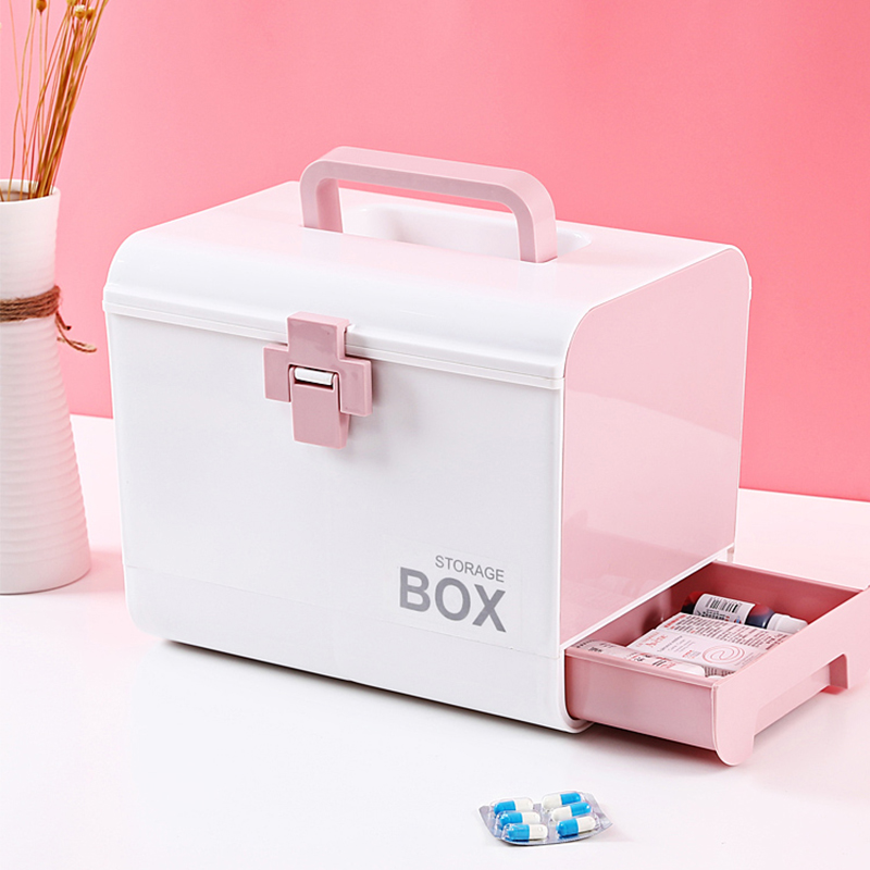 Multi-layer Storage Organizer Medicine Box Portable Medical Kits PP Plastic Drawer Drug Storage Box Home First-aid Tools