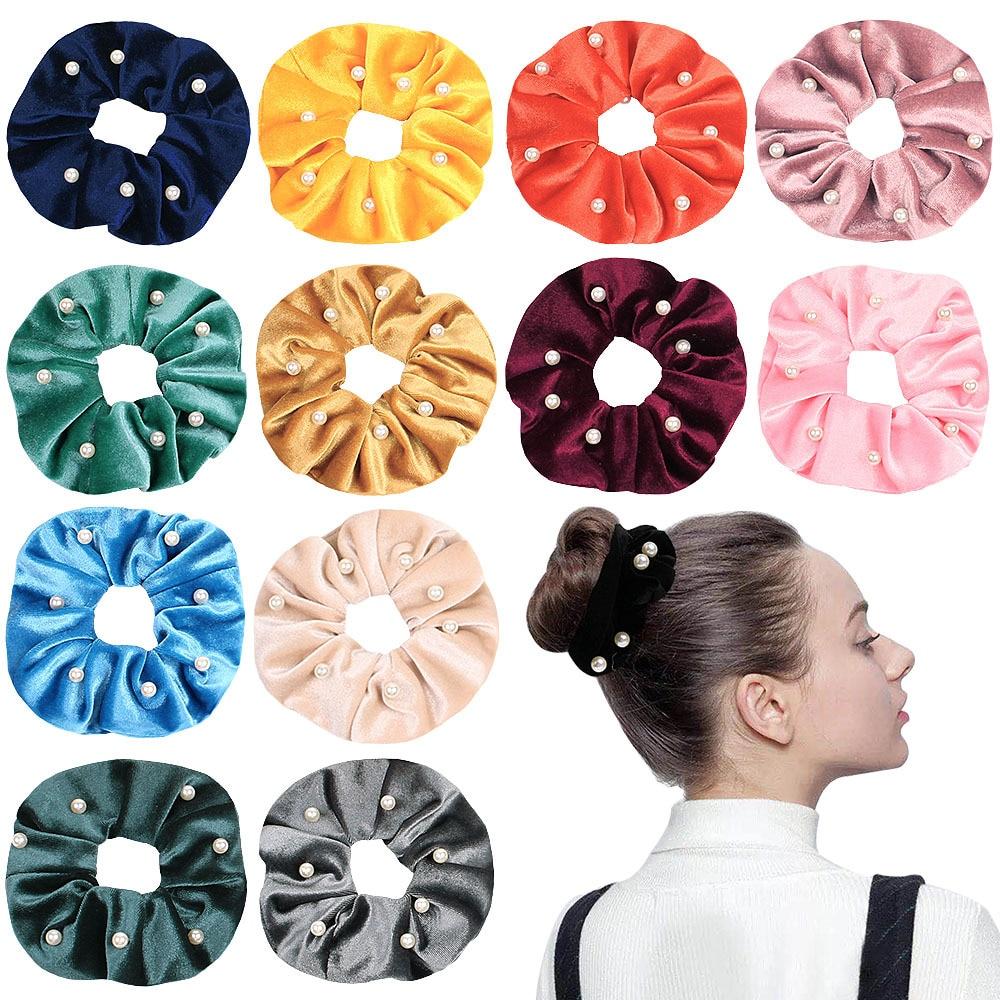 Velvet Nail Pearl Scrunchie Women Elastic Hair Rubber Bands Accessories Gum For Women Girls Ties Hair Ring Rope Ponytail Holder