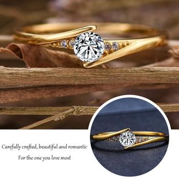 Fashion 14K Gold Round Cut 1ct White Sapphire Diamond Rings Engagement Wedding Solitaire Personality For Unisex Gift Jewelr O2M7 image