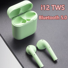 i12 TWS 5.0 Bluetooth headphone 3D stereo wireless earphone  Sports Earbuds Gaming Frosted green Perfect tone for any smartphone cute stereo earbuds 3 5mm green