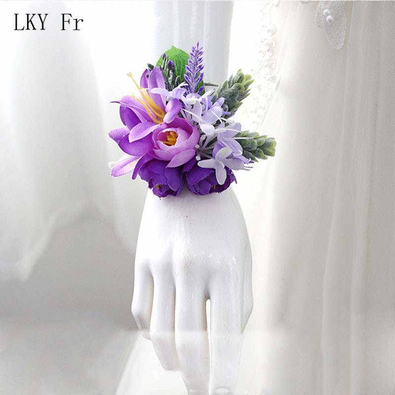LKY Fr Wrist Corsage Bracelets For Bridesmaid Bridal Bracelet Flowers Purple Corsage Wedding Boutonniere Marriage Accessories
