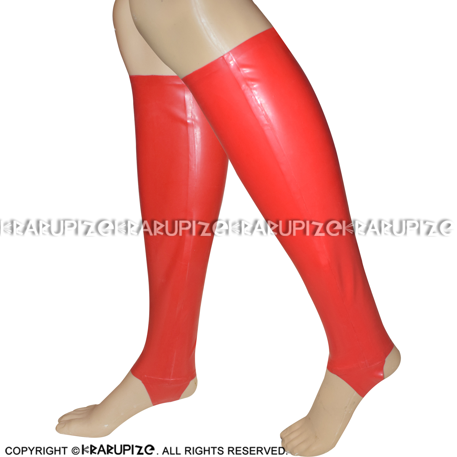 Red Sexy Long Latex Stockings With Cutting Feet Knee Length Rubber Stocking WZ-0012