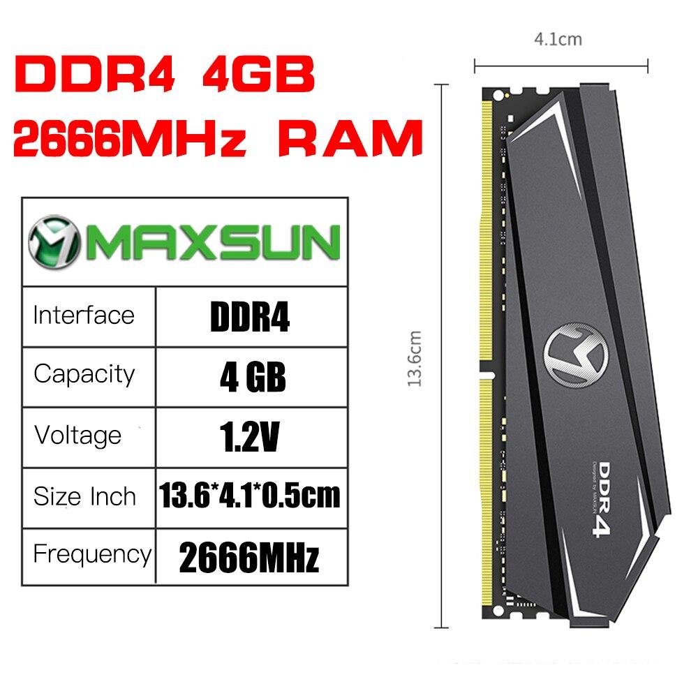 MAXSUN Ram DDR4 4GB 8GB 16GB Memory 2666MHz Lifetime Warranty Single Memoria Rams DDR4 1.2V 288Pin Interface Type  Desktop dimm 5