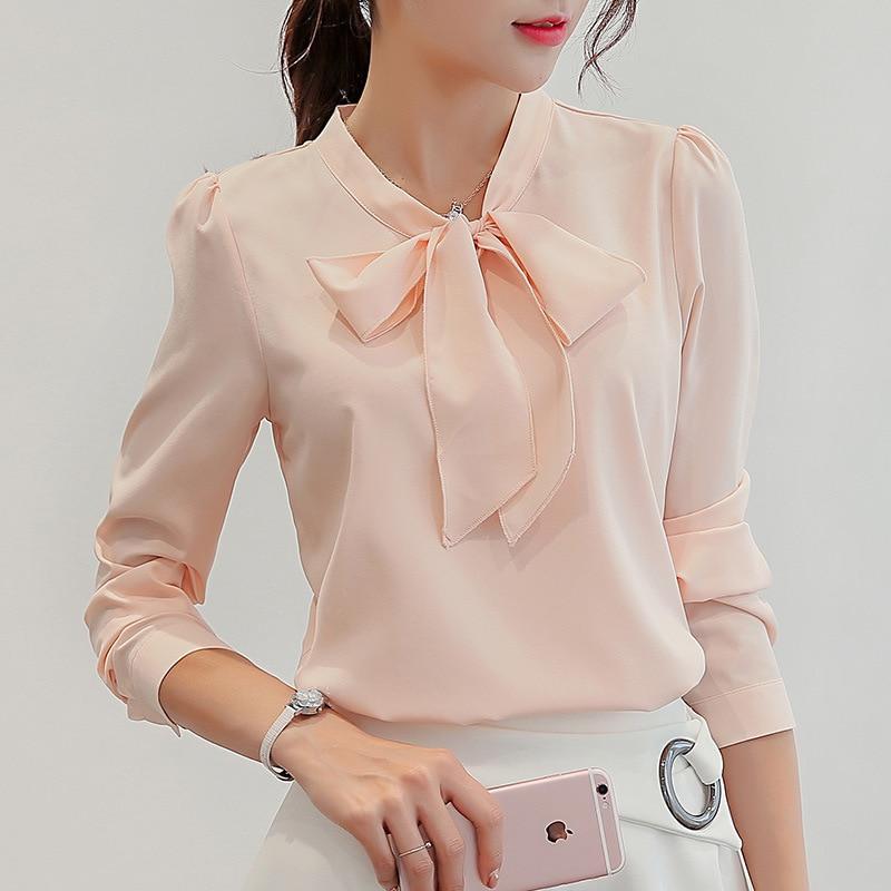Harajuku New Spring Summer Blouse  Bow Office Ladies Pink White Tops Women Long Sleeve Shirts Fashion Leisure Chiffon Shirt