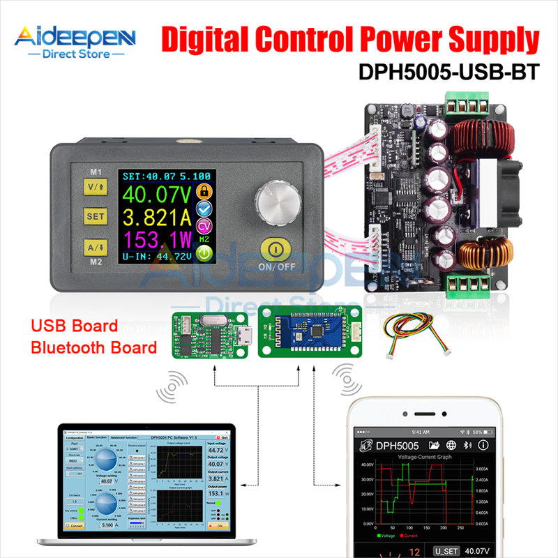 DC 6V-50V DPH5005 CNC Buck-boost Converter Color Screen Display DC Adjustable Power Supply With USB And Bluetooth Communication