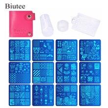 Biutee 12 Pcs Nail Manicure Plates +1 Polish Stamper + 1 Scraper Set Art Stamp Plate Stamping Templates Kit