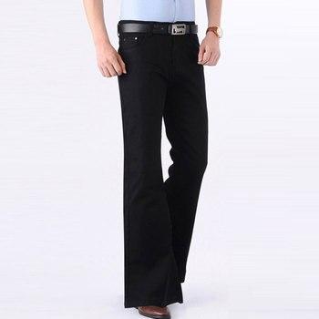 Color: Blue Black Jeans Men Fashion Retro Big Flare Pants 2020 Men's New Loose Denim Flare Pants Men's Wide Feet Slim Thin Pants фото