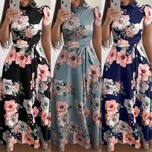 Летние повседневные женские кружевные длинные платья с коротким рукавом облегающее цветочное длинное платье с принтом модное дамское летнее платье с цветочным рисунком