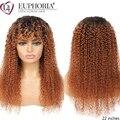 Омбре коричневый 30 кудрявые парики бразильские 9A Remy 100% человеческие волосы полный машинный парик с челкой Джерри кудрявый боб полный ...