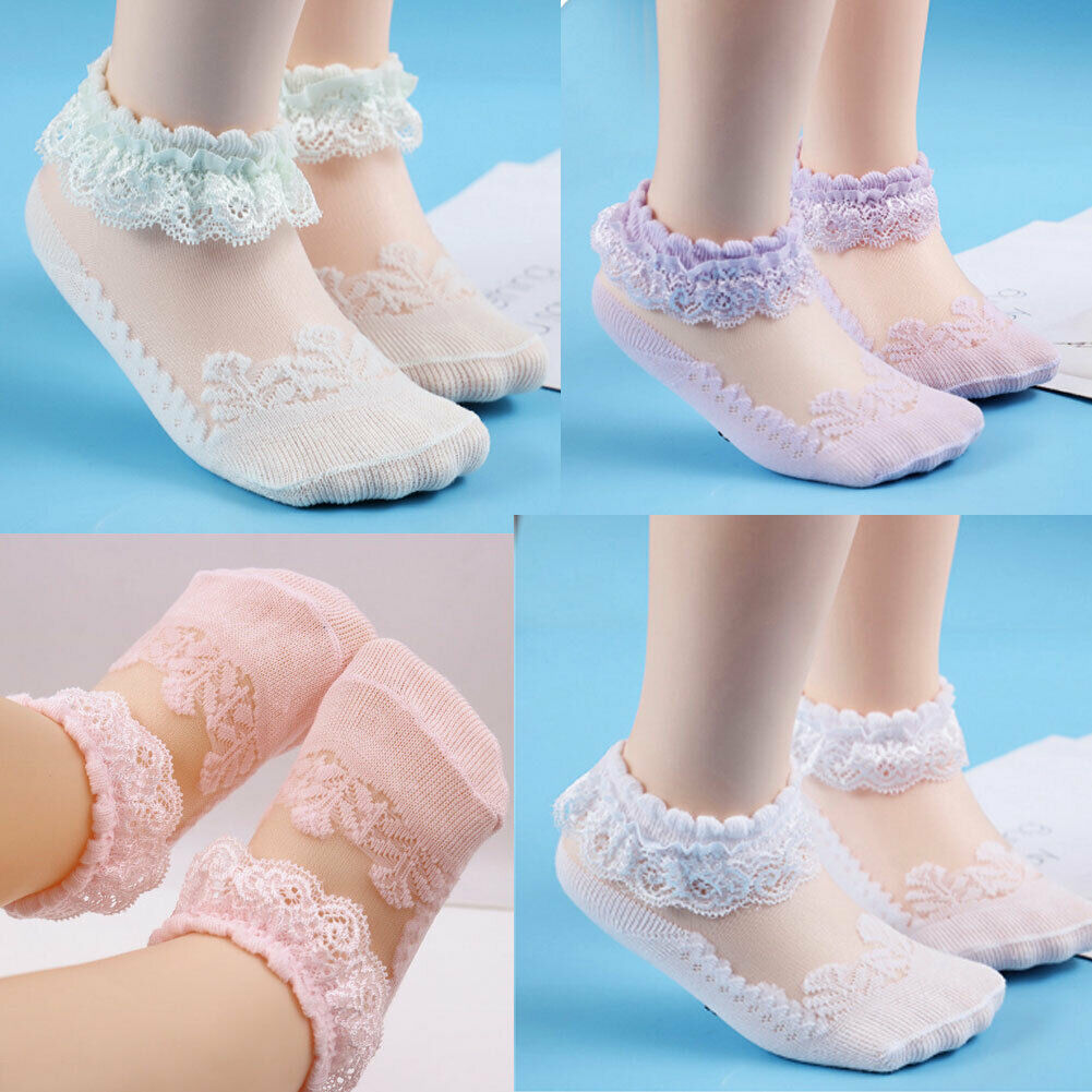 Lace Girls Baby Princess Kids Ankle Socks Frilly Infant Girl Toddler Pink White Lace Floral Short Socks