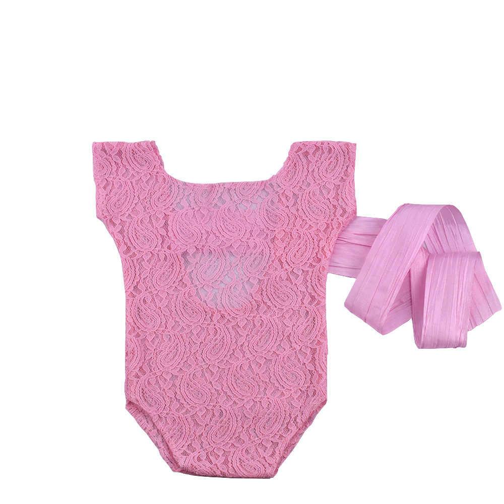 Кружевной Костюм для фотосъемки новорожденных с бантом из ленты, цельный костюм для фотосессии новорожденных CHD30006
