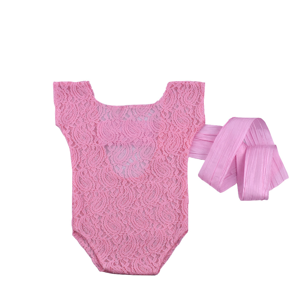 Newborn Department Bow Ribbon Lace Siamese One-Piece Photo Suit Newborn Photography Props  CHD30006