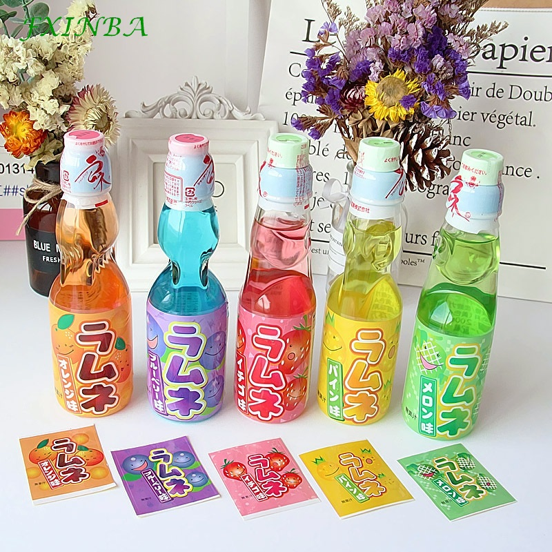 FXINBA New Japanese Soda Fruit Drink Waterproof Slime Sticker Containers Storage Sticker Slime Supplies DIY Toys (Only Sticker)