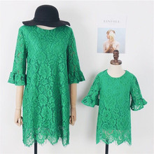 Mom and Daughter Matching Clothes 2019 Autumn New Mother Parent-child Wear Green Lace Sleeves Dress