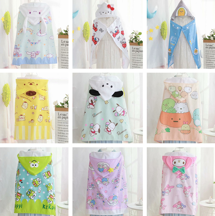 Cartoon Sanrio Hello Kitty My Melody Cinnamoroll PomPurin Little Twin Stars Children Bath Towel Bathrobe Beach Bathrobe Blanket