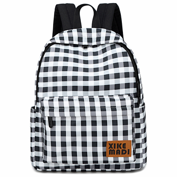 Fashion Lattice Backpack Woman School Bags for Teenager Girls 14 inch Laptop Rucksack Student Bookbag Bagpack Mochila Feminina thikin mochila bts backpack for women pu leather rucksack teenager girls fashion rap monste bangtan boys mini bagpack daypack